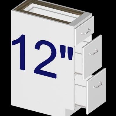 3ds inch 3-drawer kitchen cabinet
