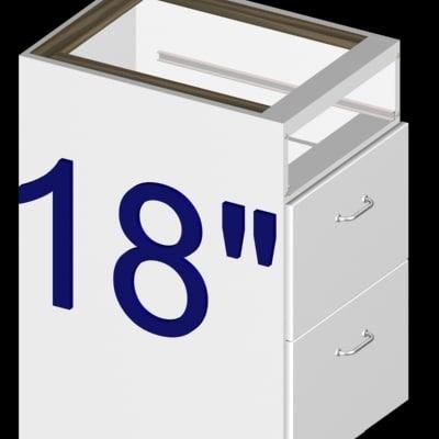 eighteen inch 3-drawer kitchen cabinet 3d 3ds