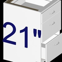 3d 21 inch 3-drawer kitchen cabinet model