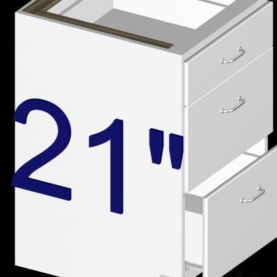 3d 21 inch 3-drawer kitchen cabinet model