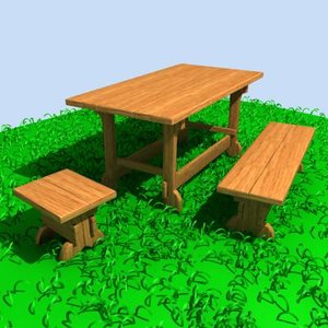 3ds max outdoor furniture set table