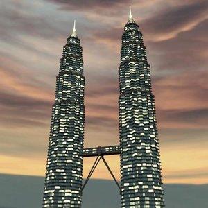 3d petronas tower night model