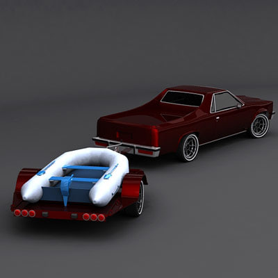 dinghy trailer pickup 3d model