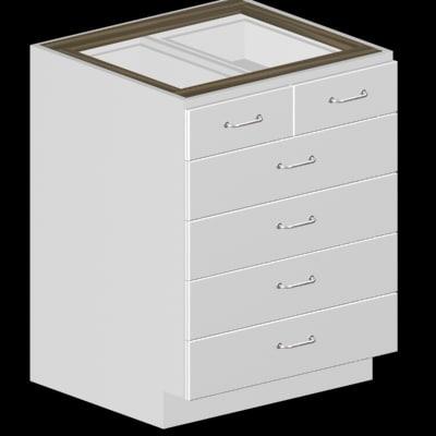 728 27  27 Inch 6 Drawer Kitchen Cabinet Base In Plain White