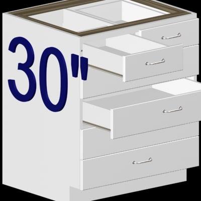 728 30  30 Inch 6 Drawer Kitchen Cabinet Base In Plain White