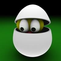 3d model of egg easter bird