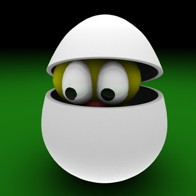 3d model of egg easter bird