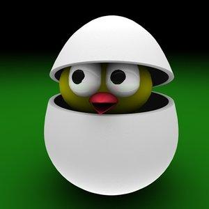 3d egg easter bird
