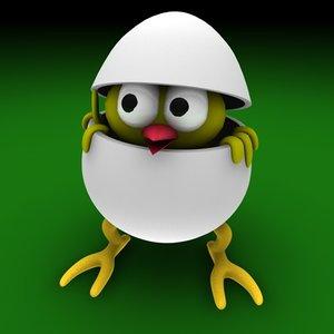 egg easter bird 3d c4d