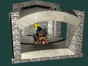 3d model of fort sumter cannon gun