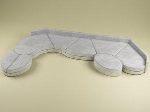 sofa modelled 3d 3ds