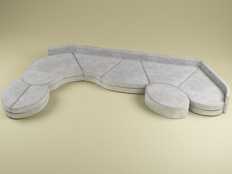 sofa modelled 3d 3ds
