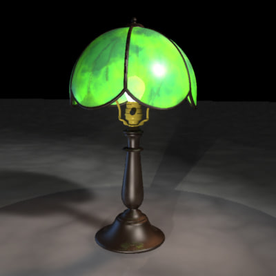 dxf stained glass tulip table lamp