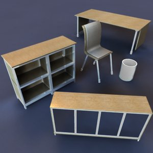 desk chair office 3d model