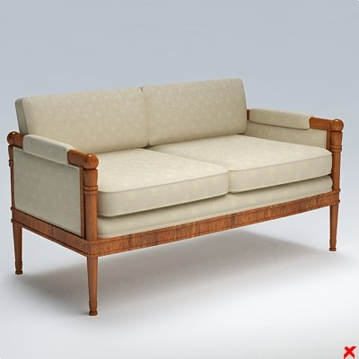 3d model sofa old fashioned