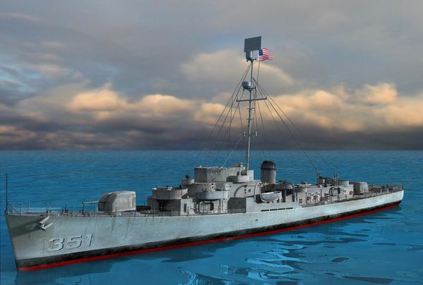 uss butler class ship 3d model