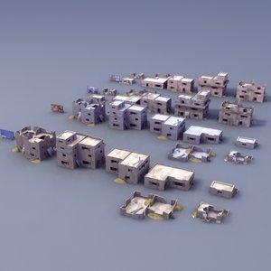 3d ruined house buildings model