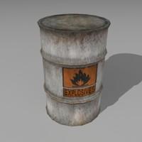3d barrel containing explosives