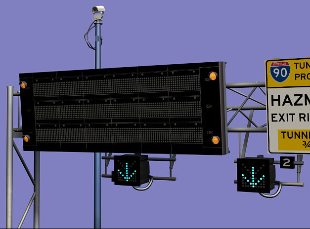 3ds max highway sign approach tunnel