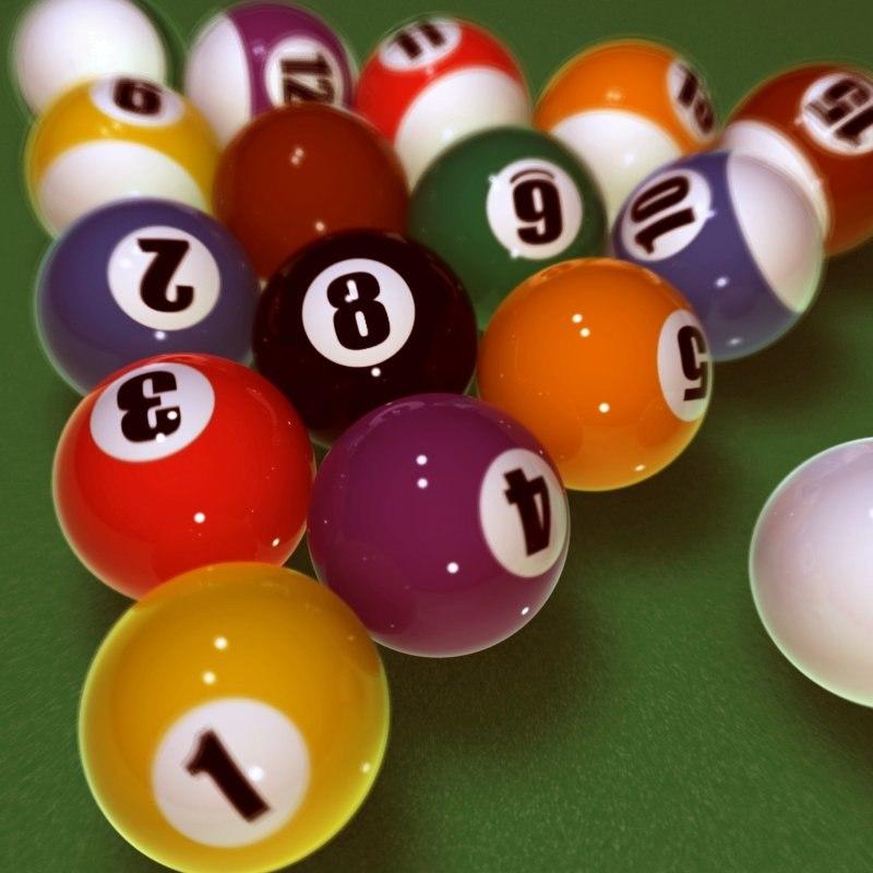 3d billiard pool ball set model