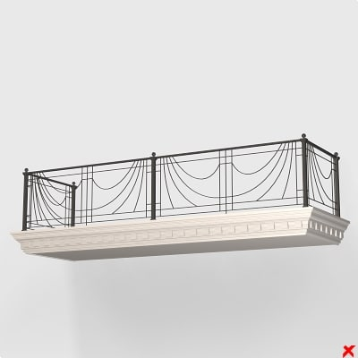 3d balcony balustrade