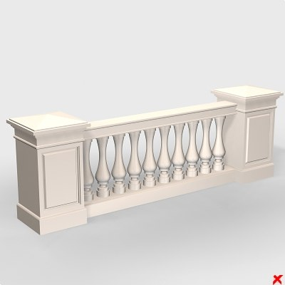 3d balustrade fence model