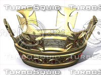 3d gold crown jeweled