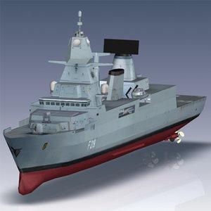sachsen class frigate ship 3d 3ds