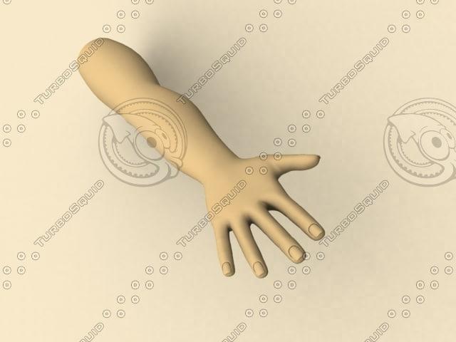 free human male hand 3d model