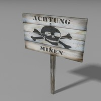 3d model german warning sign