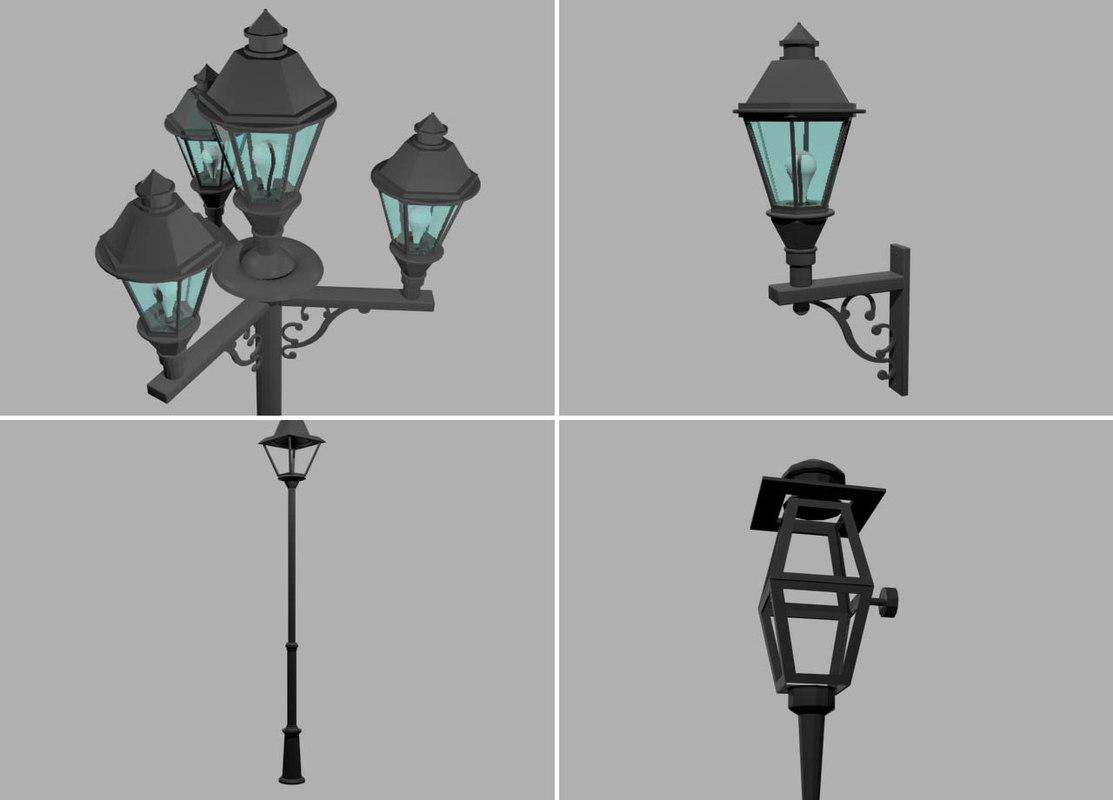 3d street lamp sconce