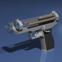 3d model experimental pistol stacked projectile