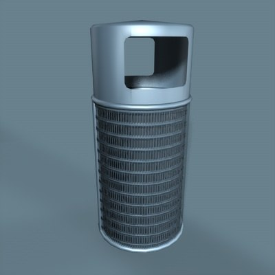 3d model metal trash bin