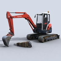 mini excavator 3d model