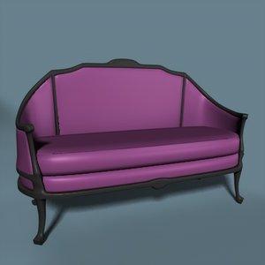 victorian love seat 3d model