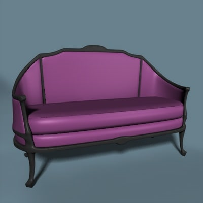 victorian love seat 3d model