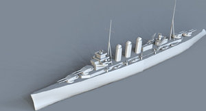 3d model of uk heavy cruiser