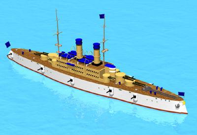 casemate battle ship 3d model