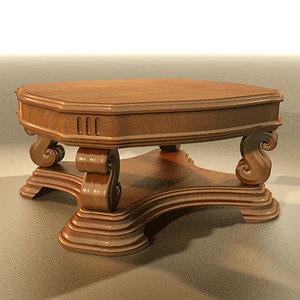 massive wooden table 3d lwo