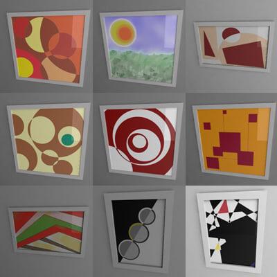 paintings frames 3d 3ds