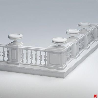 balustrade fence grid 3d model
