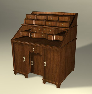 antique writing desk cabinet dxf