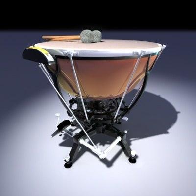 3d model timpani orchestral instrument