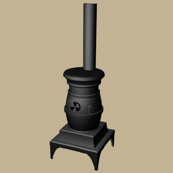 pot belly stove 3d max