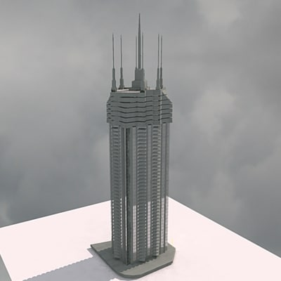 3d model modern build 01