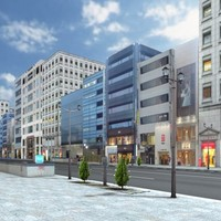 3d ginza street furniture building