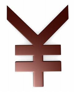 3d model yen symbol sign