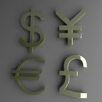3d currency symbols dollar model