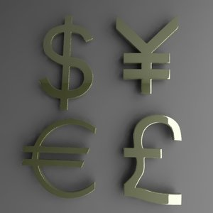 3d currency symbols dollar model
