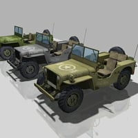 ww2 vehicle jeep willis 3d model